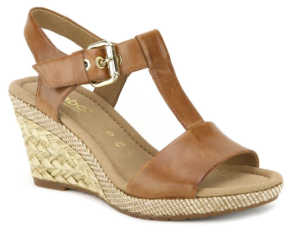 Gabor 修身輕躍 時尚金屬扣飾楔型涼鞋 濃咖啡 0