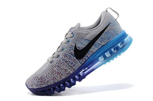 Nike air max 全掌彩虹氣墊編織 男生運動鞋 休閒鞋 慢跑鞋  灰天藍 男鞋
