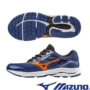 K1GC162711(深藍X橘)WAVE INSPIRE12 Jr. 支撐型童鞋 A【美津濃MIZUNO】