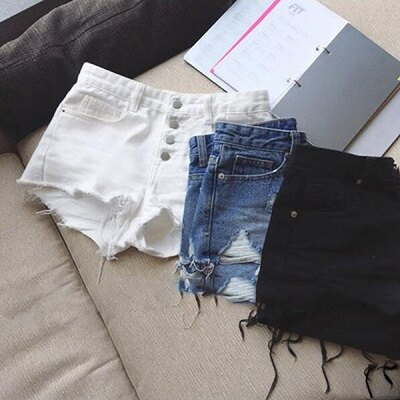PS Mall 破洞顯瘦熱褲牛仔短褲 百搭短褲~T1332~ ~  好康折扣