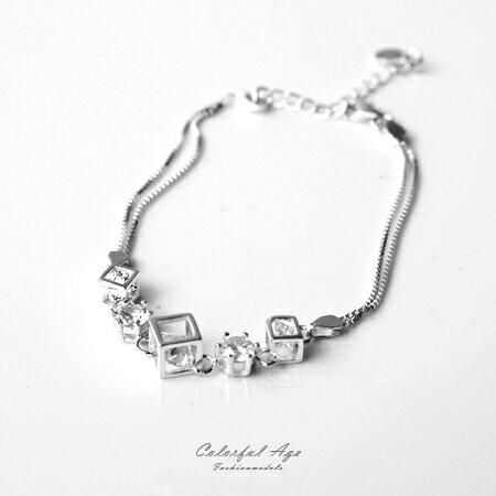 手鍊 鏤空方塊亮眼水鑽 925純銀細緻手環 貼心延長鍊 氣質女孩 柒彩年代~NPA2~
