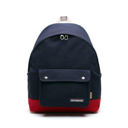 後背包後背包 韓國AFRICA RIKIKO 拼接色後背包 電腦包 書包 NO.122 곤색+빨강(Navy+Red) - 包包阿者西