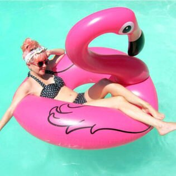 PS Mall 夏日充氣夢幻紅鶴造型 火烈鳥游泳圈 水上座椅 充氣玩具 漂浮床【J2028】120CM