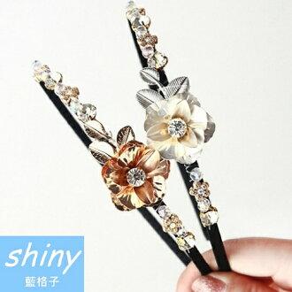【DJB4410 】shiny藍格子-復古時尚巴洛克風格髮箍