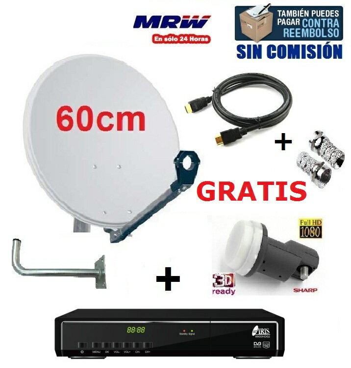 ANTENA PARABOLICA 60cm + LNB SHARP UNIVERSAL + SOPORTE PARED + RECEPTOR IRIS 9900HD 02 + CONECTORES F + CABLE HDMI 0