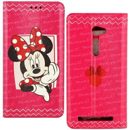 【Disney】ASUS ZenFone 2 5吋 哈囉系列 隱磁側掀皮套-米妮