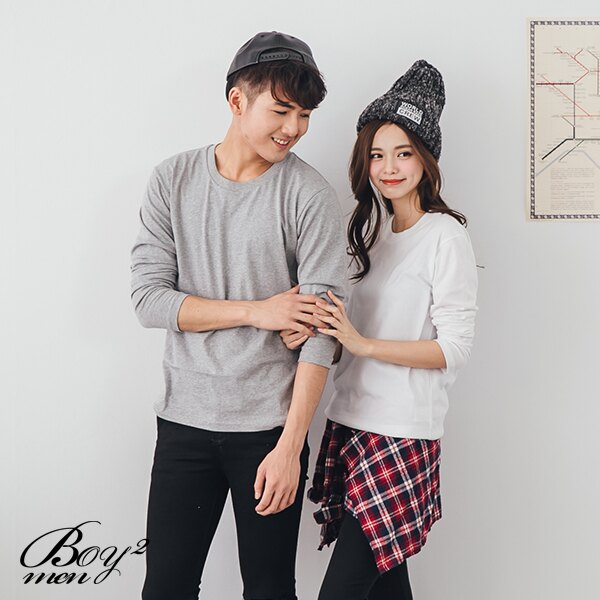 ☆BOY-2☆ 【XX88017-1】情侶潮流質感素面圓領長T恤 4