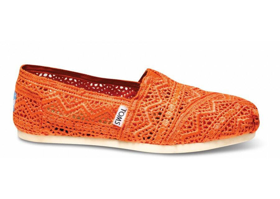 [Anson king]國外代購TOMS 帆布鞋/懶人鞋/休閒鞋/至尊鞋 蕾絲系列  橘色 女款 2