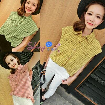 *︵shiny藍格子︵*【T18595】春心手札.簡約百搭格子寬鬆顯瘦無袖襯衫。黃/粉/綠