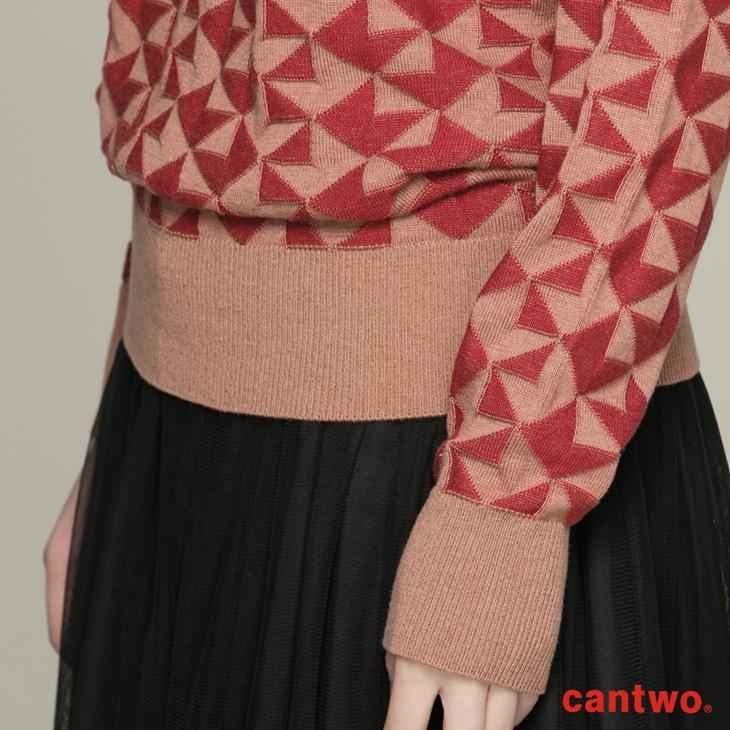 cantwo復古幾何圖紋針織上衣(共二色) 5