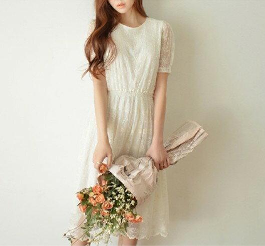 ^~ 雲 彼端 ^~ 韓國小清新仙短袖蕾絲刺繡修身中長款洋裝 ^~ S^~XL ^~ ~