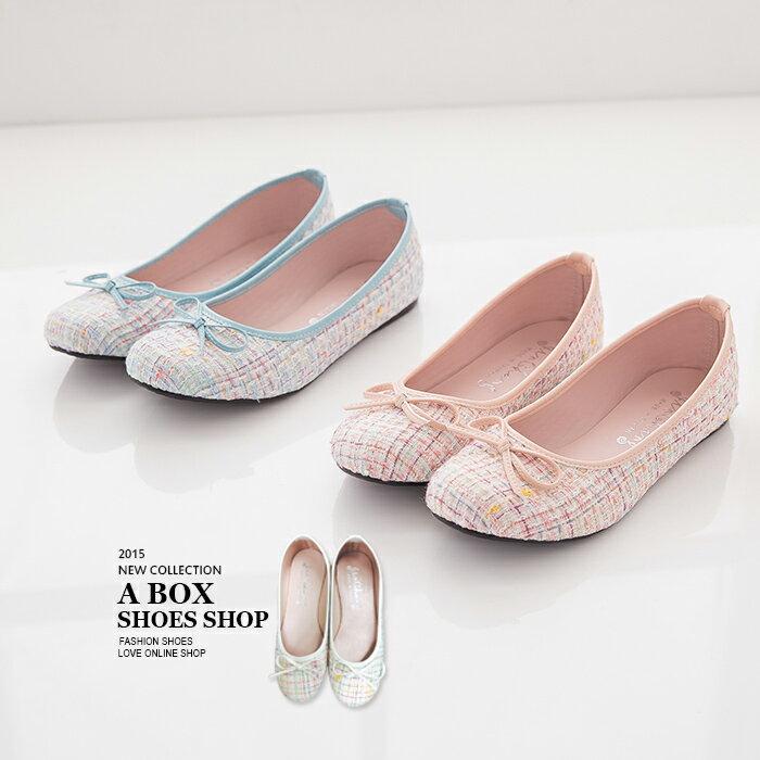 格子舖*【AI7836】MIT台灣製 超值特價蝴蝶結小香風混色毛呢 平底包鞋 娃娃鞋 3色 0