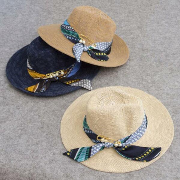 50%OFF【E014914SWH】遮陽帽夏天大簷沙灘帽太陽帽大沿蝴蝶結珍珠絲帶草帽沙灘防曬