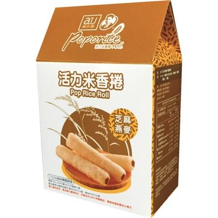 【淘氣寶寶】阿久師活力米香捲-芝麻燕麥【100%純米精製餅身,使用台灣米精製】