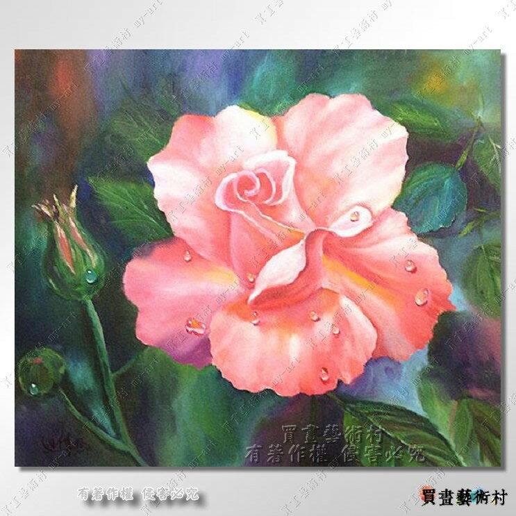 油畫 買畫~買畫藝術村~一心一意 浪漫幸福玫瑰 橫幅 10F 油畫 原創 畫家 創作 美術