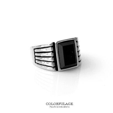 戒指 復刻寶石刻紋造型食指環戒 鋼製材質美感設計 抗過敏/ 氧化特質 柒彩年代【NC189】穩重感 0