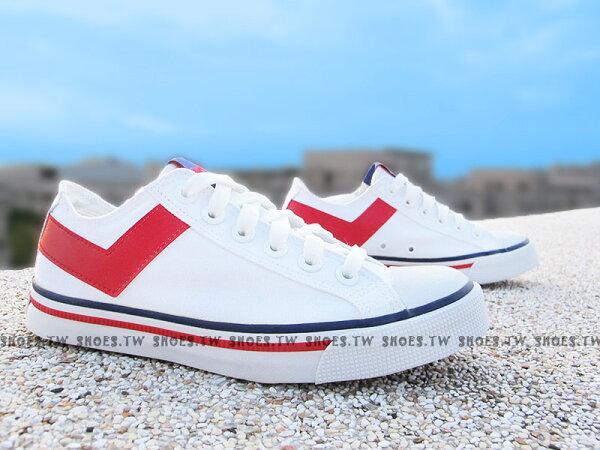 Shoestw【63U1SH17SW】PONY Shooter 帆布鞋 低筒 白紅色 男女都有