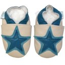 Dotty Fish Leather Baby Shoes - Cream & Denim Star