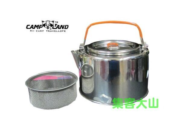 【露營趣】中和 CAMP-LAND RV-ST750 1公升不鏽鋼燒茶壺 燒水壺 咖啡壺 附沖茶濾網 非snow peak