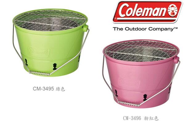 【露營趣】中和 美國 Coleman BBQ水桶 烤肉爐 烤肉架 燒烤爐 焚火台 暖爐 CM-3495 CM-3496