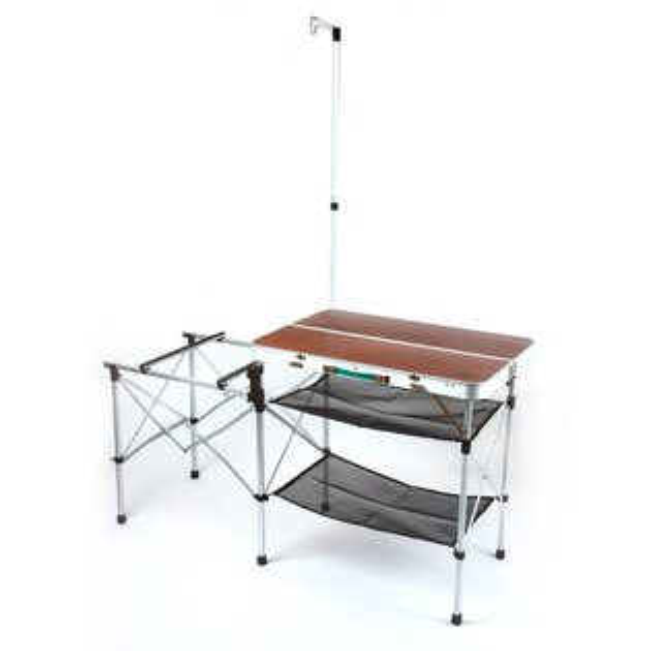 【露營趣】中和 最新款 GO SPORT 98001 手提式料理桌 行動廚房 爐架 料理桌 雙口爐架 同coleman cm-3126優