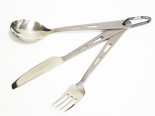 【露營趣】中和 附收納袋D型扣環 犀牛 RHINO KT-13 超輕鈦合金刀叉匙 3合1組合 鈦叉 鈦湯匙 環保餐具