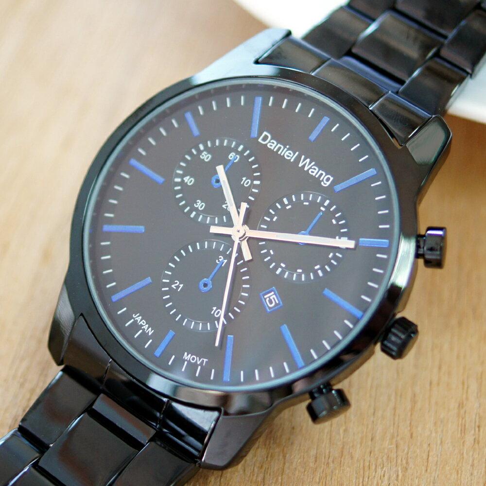 Daniel Wang 3136-IP 霸氣大錶面經典三眼石英黑框金屬男錶 1