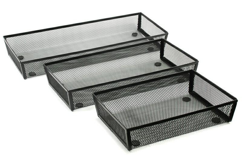 【凱樂絲】辦公室,書房,居家抽屜收納整理籃(大,中,小3件組) - 黑色網狀設計 0