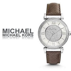 美國Outlet 正品代購 MichaelKors MK 銀鑲鑽 深咖色皮帶三環計時手錶腕錶 MK2377 0
