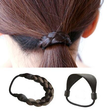 韓版 簡約假髮編織髮束 髮圈 髮繩 髮飾 頭飾 橡皮筋【N200709】