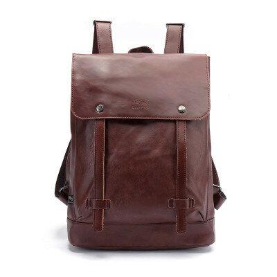 【瞎買天堂x最後三個】韓版復古仿皮後背包 雙肩包 可放筆電 iPad 做工精緻【BGAA0205】