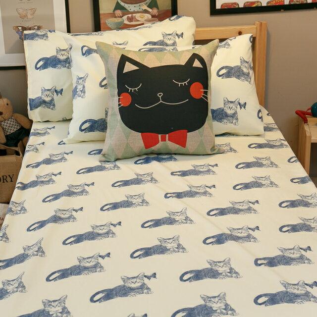 Blue cat 藍貓【床包藍貓】 加大/Kingsiz賣場   舒適磨毛布 台灣製造 4