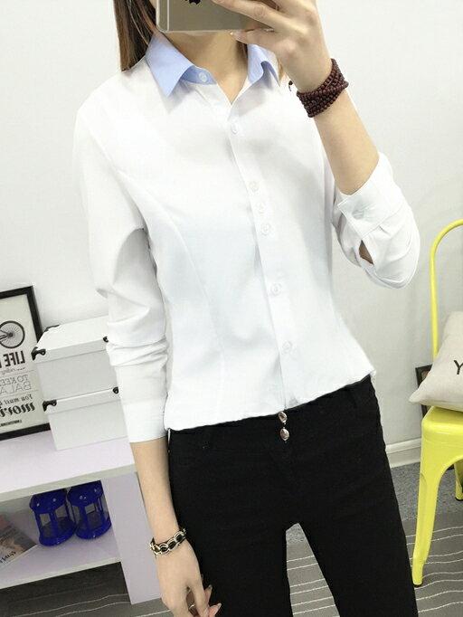 好看修身顯瘦OL套裝襯衫 工作服^(白色淺藍領^)wcps14