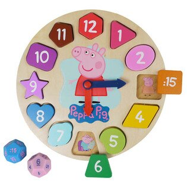 *babygo*Peppa Pig - 粉紅豬小妹木頭時鐘遊戲組 PE03968
