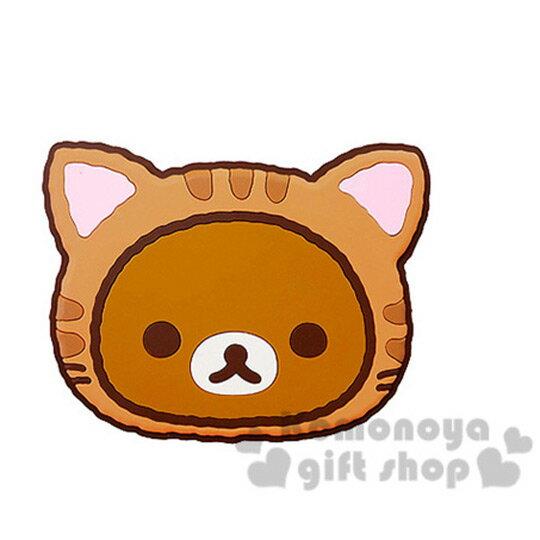 〔小禮堂〕懶懶熊 拉拉熊 汽車安全帶調整器《單入.棕.大臉.貓咪裝》減低壓迫感