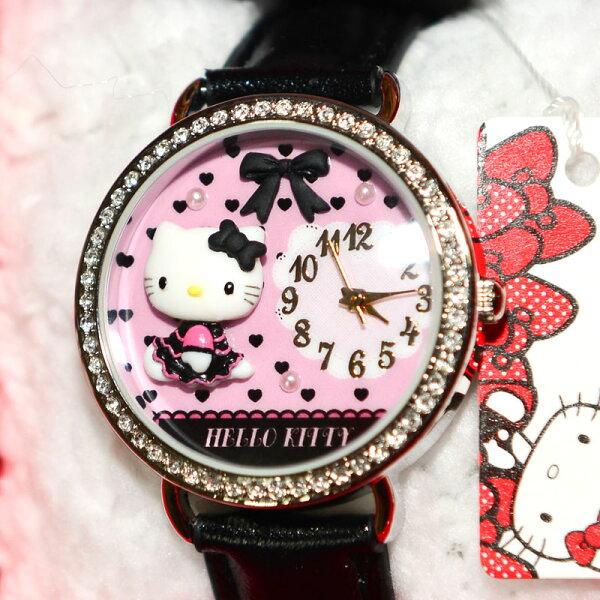 Hello Kitty 黑色 鑲鑽立體造型手錶 日本限定 附精美禮盒 值得收藏
