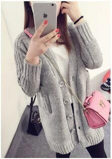YJY保暖純色寬鬆長版針織外套[F507]-2色