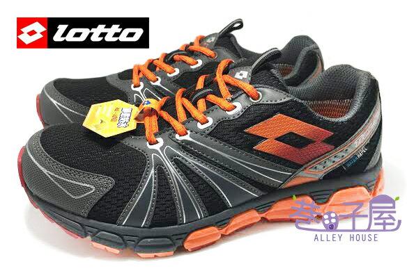 【巷子屋】義大利第一品牌-LOTTO樂得 男款防水勁跑越野運動慢跑鞋 [2090] 黑桔 超值價$890