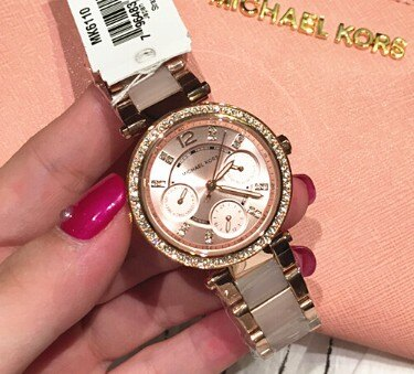 【限時8折 全店滿5000再9折】MichaelKors MK 大粉玫瑰金 水鑽  陶瓷  三環 手錶 腕錶 MK6110 美國Outlet正品代購 4
