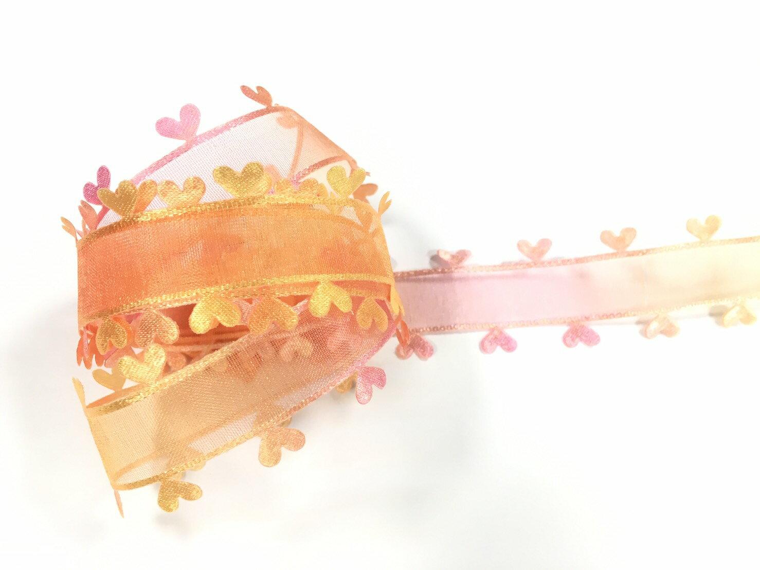 網紗漸層壓邊愛心緞帶 27mm 3碼 (6色) 4