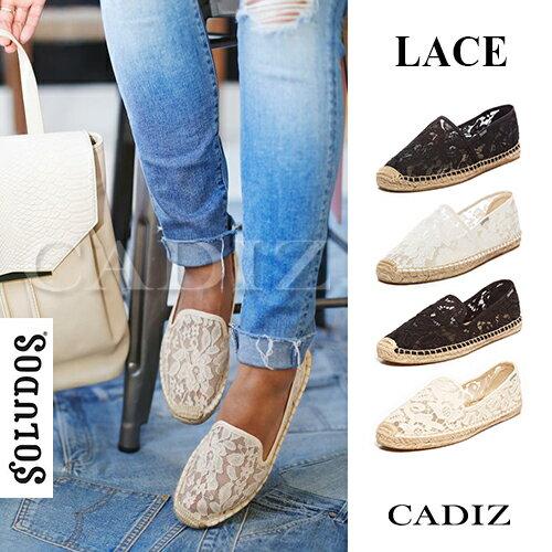【Cadiz】美國正品 SOLUDOS 蕾絲款草編鞋 [CHANTILLY LACE ORIGINAL/ 代購/ 現貨] - 限時優惠好康折扣