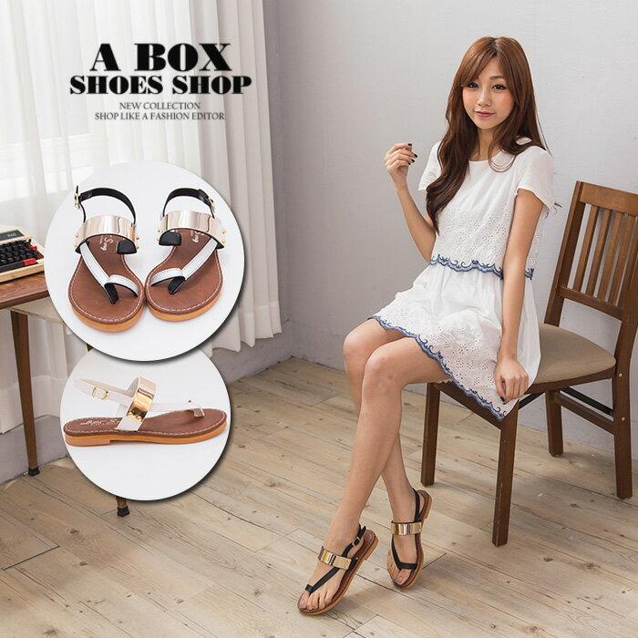 格子舖*【KT2400】MIT台灣製 閃耀金屬拼接皮革 扣環穿拖 1.5CM低粗跟 套指夾腳涼鞋 3色 0