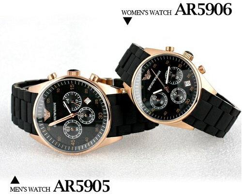【ARMANI亞曼尼】膠鋼帶石英黑\金配色-情侶對錶(AR5905\AR5906) 4