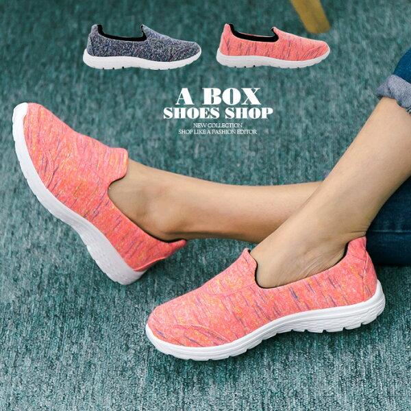 格子舖*【KBA-35】MIT台灣製 透氣柔軟針織布面 懶人鞋 輕量鞋 健走鞋 慢跑鞋 2色