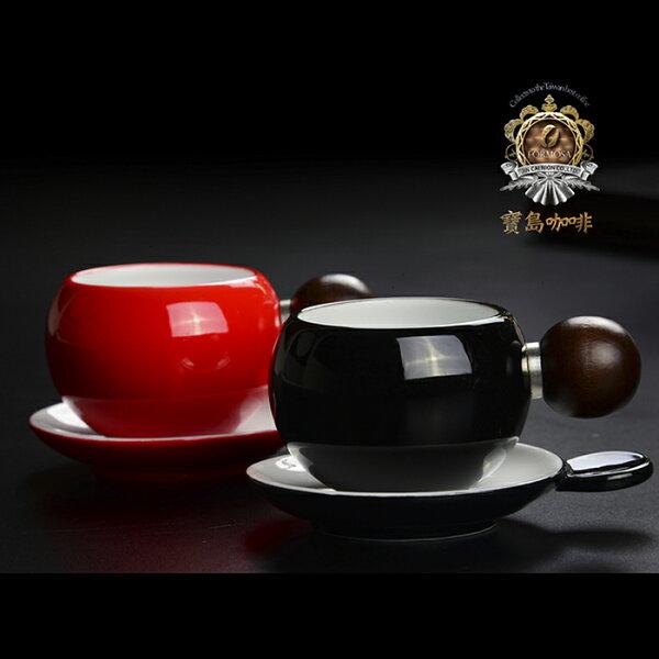 【寶島咖啡】黑-陶瓷櫸木手作精品咖啡杯組