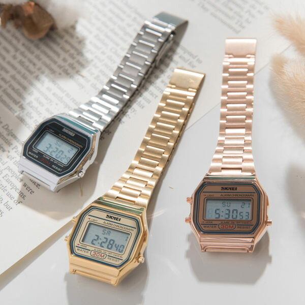 《好時光》SKMEI  玫瑰金 / 金色系 方型 可調錶帶 電子錶/女錶/運動錶 類似卡西歐風格