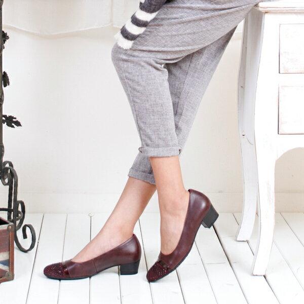 Gabor 鑽飾寬楦優雅低跟鞋 酒紅 3