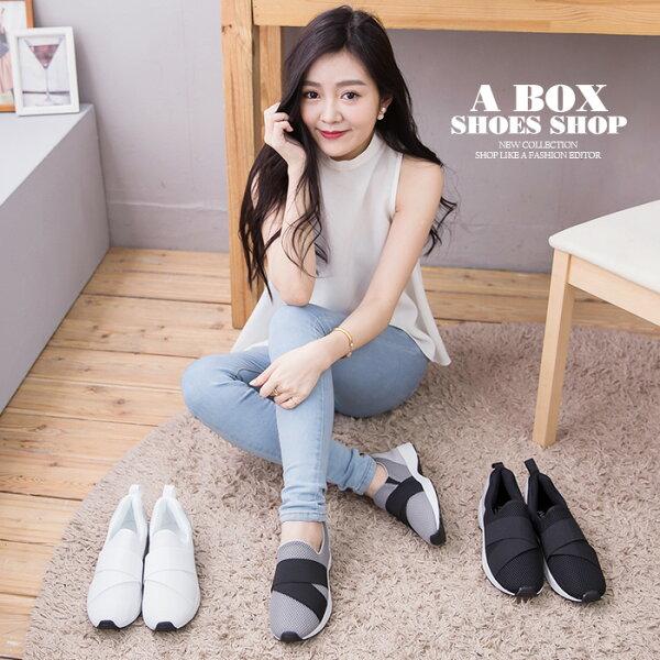 格子舖*【KT3544】MIT台灣製 透氣網布拼接布面 簡單流行繃帶 布面鞋 休閒鞋 懶人鞋 3色