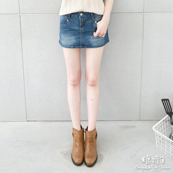 ★原價890五折445★糖罐子刷色車線口袋單寧褲裙→預購【KK4838】 1