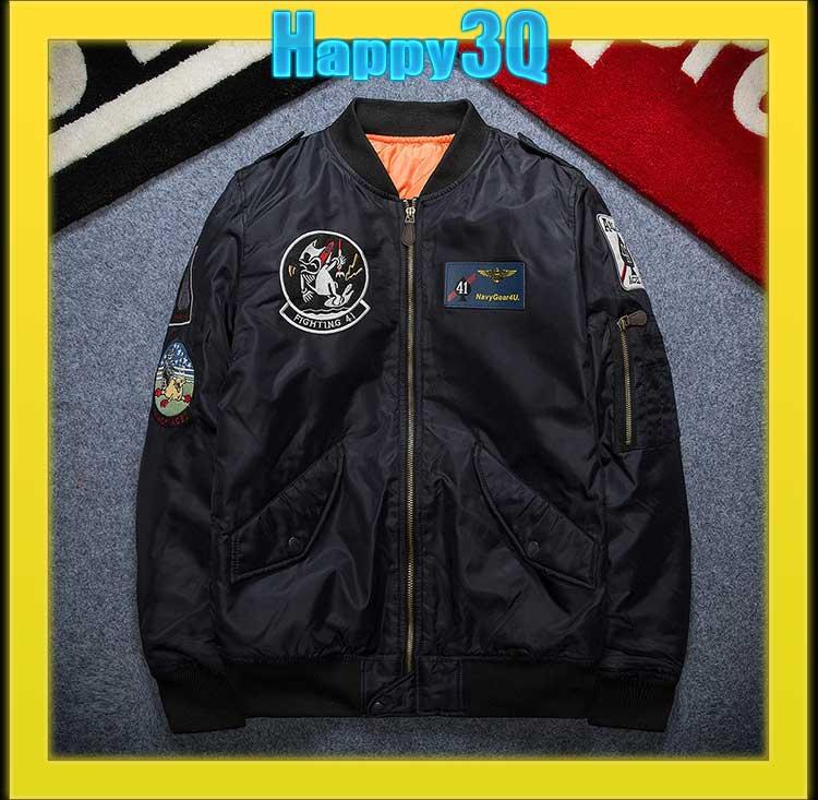 情侶夾克寬鬆徽章飛行員外套刺繡外套棒球外套~軍綠 黑 藍XS~2XL~AAA0881~ ~